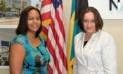 Charge Bowers with IVLP participant Davinia Blair